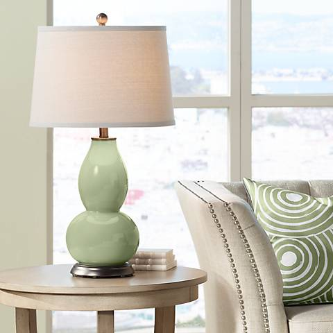 Majolica Green Double Gourd Table Lamp
