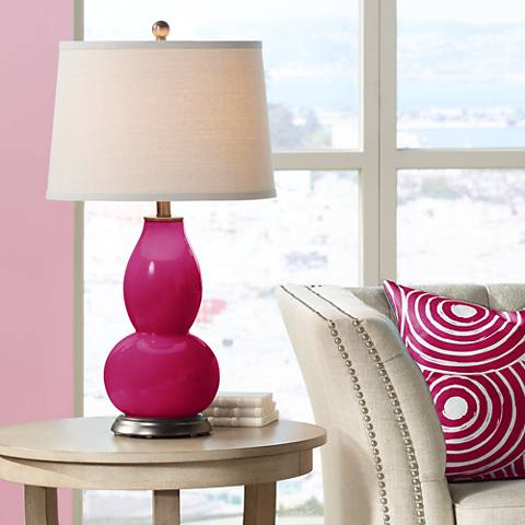 French Burgundy Double Gourd Table Lamp