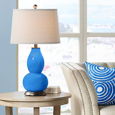Royal Blue Double Gourd Table Lamp