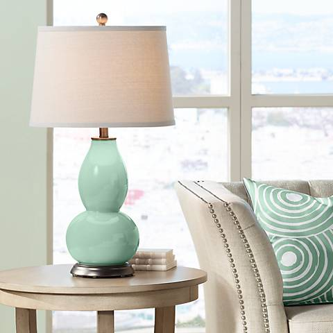 Grayed Jade Double Gourd Table Lamp