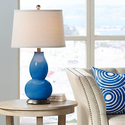 Hyper Blue Double Gourd Table Lamp