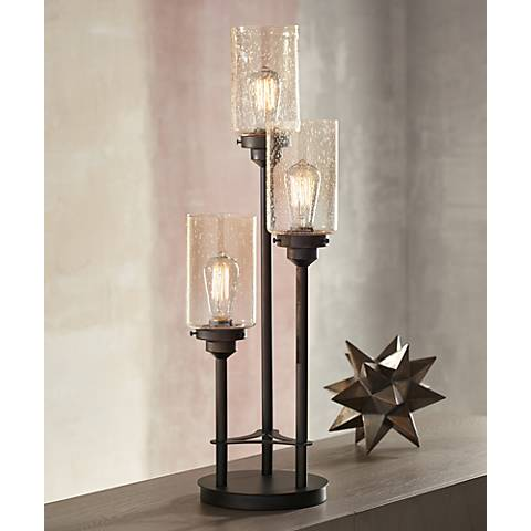Libby 3 Light Industrial Console Lamp With Edison Bulbs Y9398