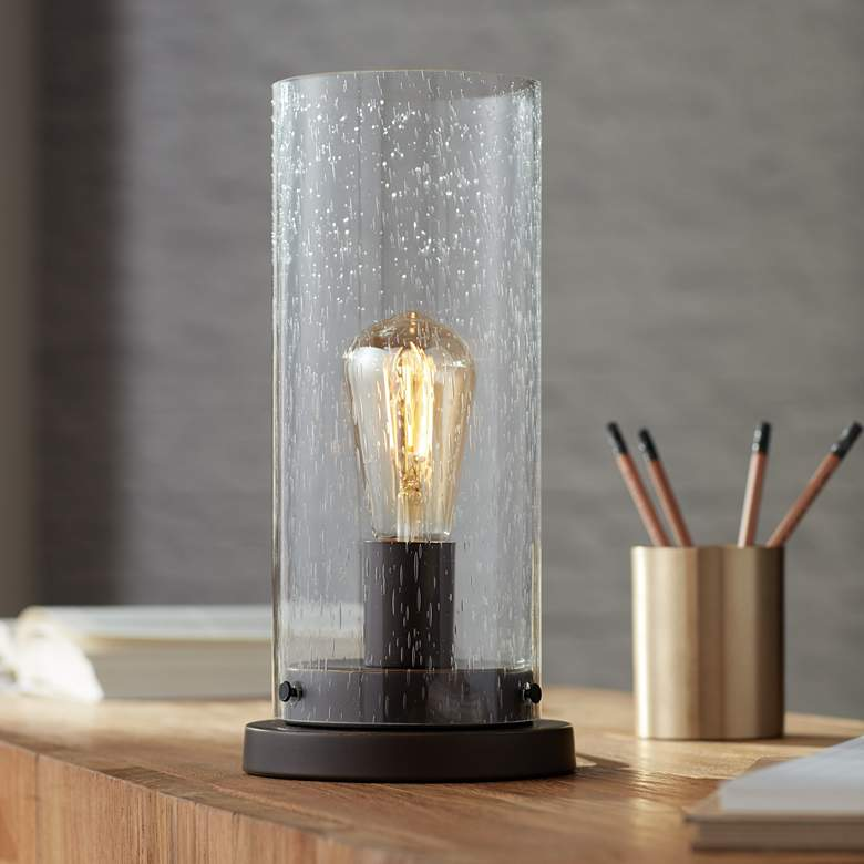 "Libby Seeded Glass 12"" High Edison Bulb Accent Lamp"