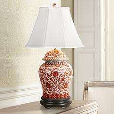 Red ceramic porcelain table lamps lamps plus coral porcelain temple jar table lamp aloadofball Gallery