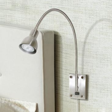 LED Brushed Steel Gooseneck Plug-In Swing Arm