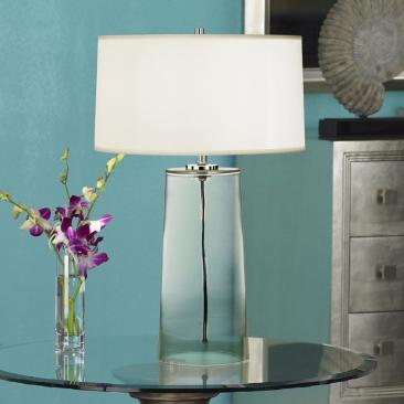 Robert Abbey Clear Glass Base with White Shade Table Lamp