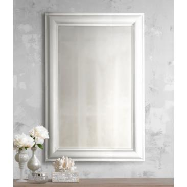 "White Finish Simple Rectangular 36"" High Wall Mirror"