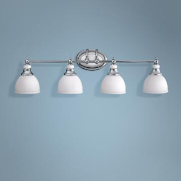 "Chrome and Cased Opal Glass 33"" Wide Bathroom Light"