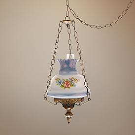 Fl 13 Wide Antique Style Plug In Swag Chandelier