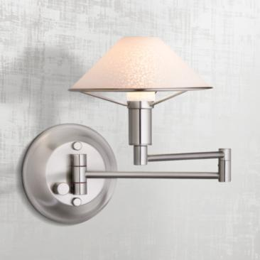 Holtkoetter Satin Nickel Satin White Glass Swing Arm Lamp
