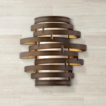 "Vertigo 10"" High Bronze and Gold Wall Sconce"