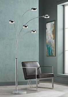 Floor lamps traditional to contemporary lamps lamps plus marble base five light arc floor lamp aloadofball Gallery