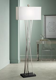Pewter floor lamps lamps plus possini euro design asymmetry floor lamp mozeypictures Image collections