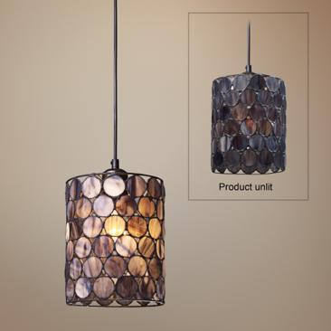 "Capiza Collection 7"" Wide Pendant Chandelier"