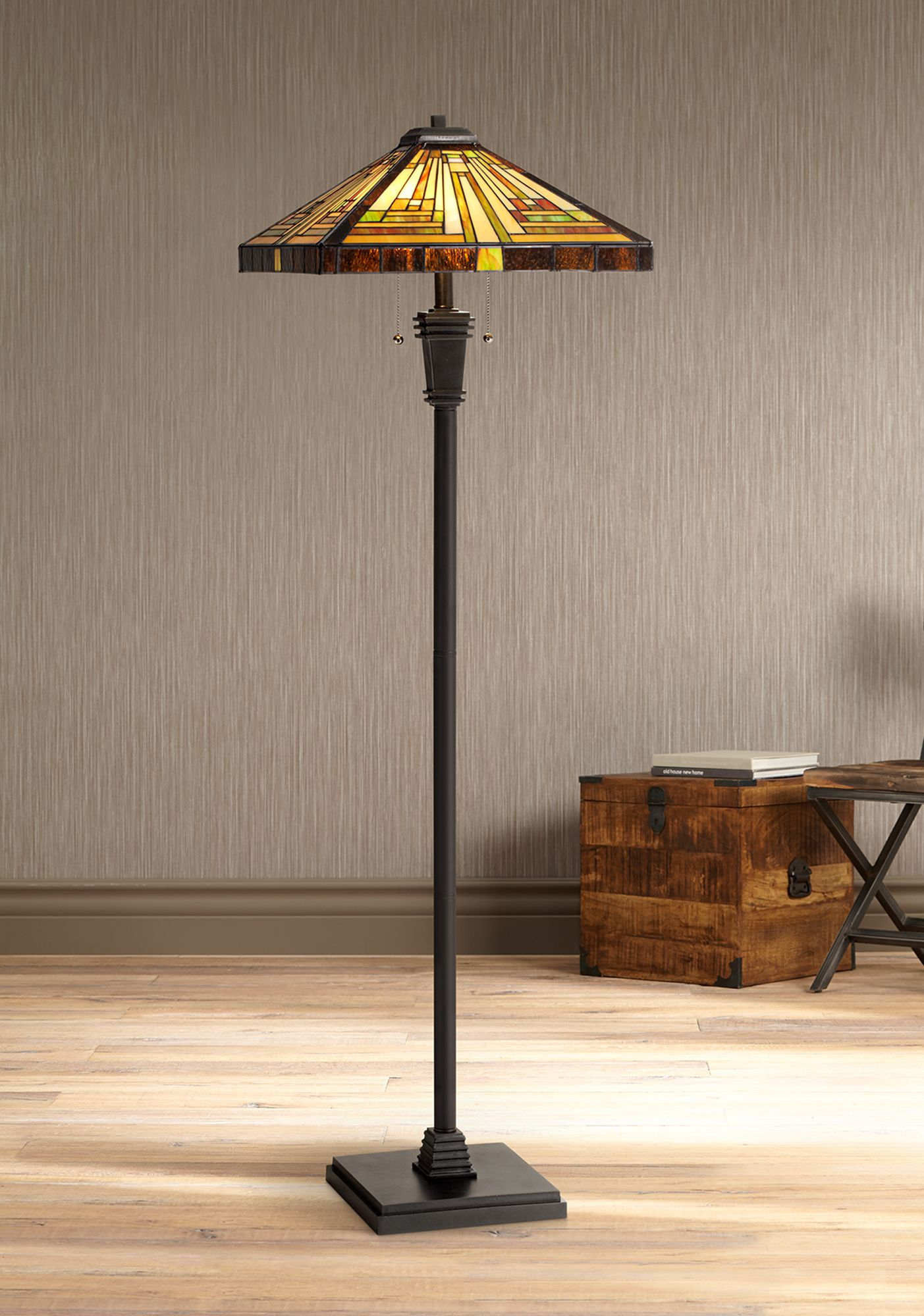 Delicieux Quoizel Stephen Tiffany Art Glass Floor Lamp
