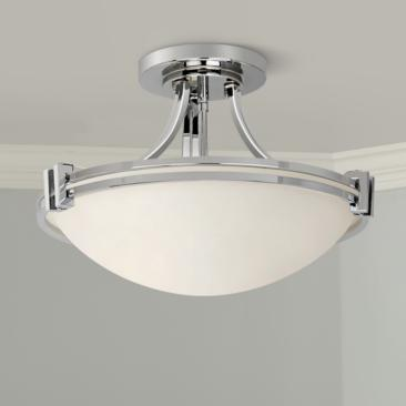 "Possini Euro Deco 16"" Wide Chrome Ceiling Light"