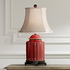 Red table lamps lamps plus red lacquer scallop tea jar table lamp aloadofball Gallery