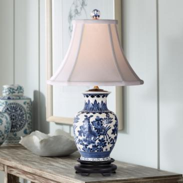 Floral Blue and White Oval Porcelain Vase Footed Table Lamp