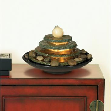 "Pyramid Feng Shui Ball Lighted 10"" High Table Fountain"