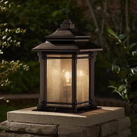 Hickory Point 16 1 2 Walnut Bronze Outdoor Pier Mount Light