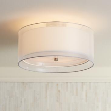 "Possini Euro Double Drum 18"" Wide White Ceiling Light"
