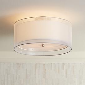 Possini Euro Double Drum 18 Wide White Ceiling Light