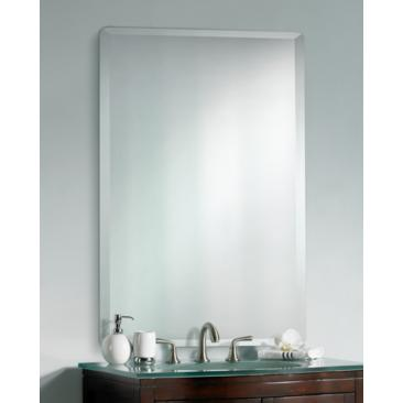 "Frameless Rectangular 40"" High 30"" Wide Beveled Mirror"