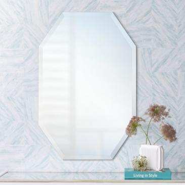 "Octagonal Frameless 20"" x 30"" Beveled Wall Mirror"