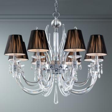 "Derry Street 32"" Wide Chrome and Crystal 8-Light Chandelier"