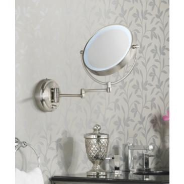 Cordless LED Pivoting Satin Nickel Wall Mount Mirror