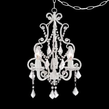 White With Crystal Accents Plug-In Swag Chandelier