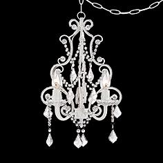 White ivory mini chandelier chandeliers lamps plus white with crystal accents plug in swag chandelier aloadofball Image collections