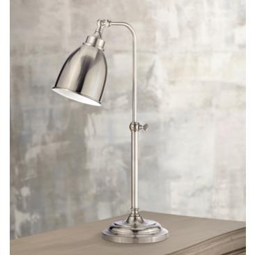 Brushed Steel Metal Adjustable Pole Pharmacy Table Lamp