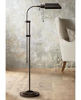 Dark Bronze Adjustable Pole Pharmacy Metal Floor Lamp