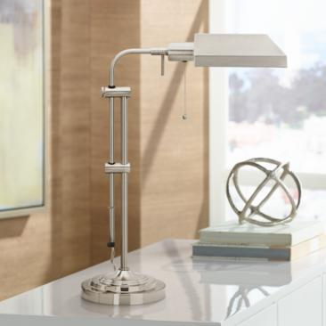 Brushed Steel Adjustable Pole Pharmacy Metal Desk Lamp