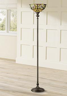 Torchiere floor lamps lamps plus quoizel kami tiffany style torchiere floor lamp aloadofball Gallery
