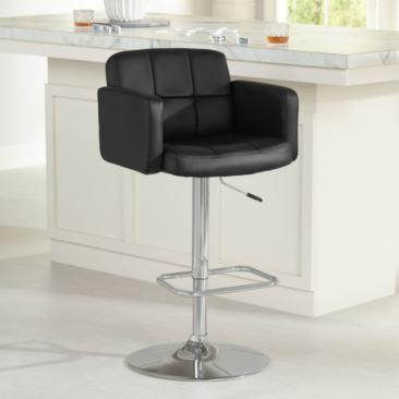 Trek Large Black Faux Leather Adjustable Swivel Bar Stool