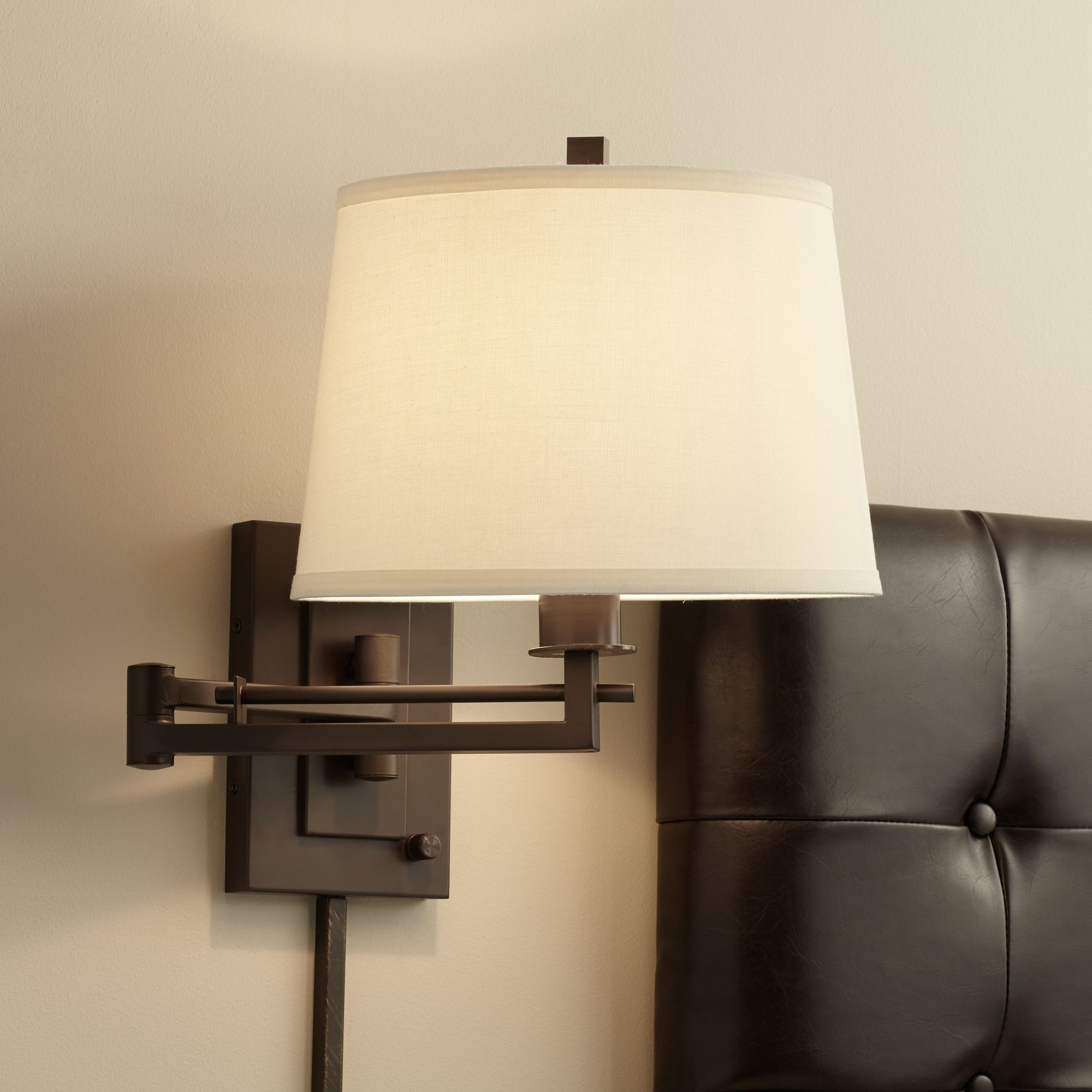Superbe Easley Matte Bronze Plug In Swing Arm Wall Lamp
