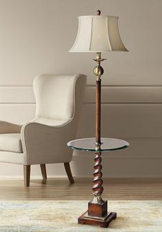 Uttermost with tray table floor lamps lamps plus uttermost myrontwist burnished cherry end table floor lamp mozeypictures Gallery