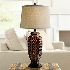Tropical table lamps lamps plus faux wicker jar table lamp mozeypictures Images