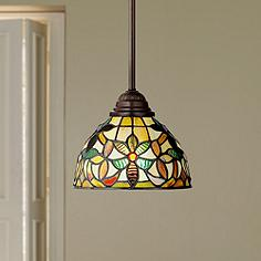 Tiffany kitchens lighting fixtures lamps plus quoizel kami tiffany style mini pendant light mozeypictures Image collections