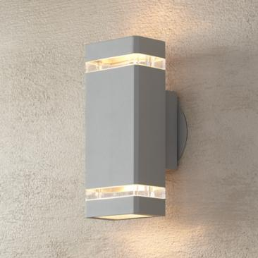 "Possini Euro 10 1/2"" High Silver Up-Down Outdoor Wall Light"