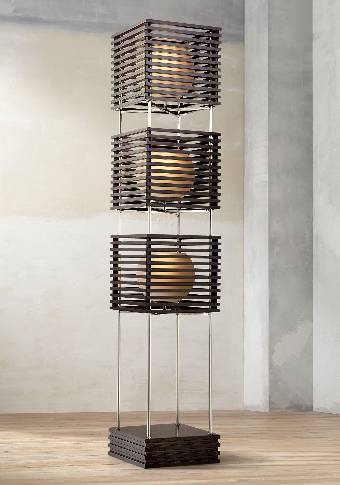 Attractive Possini Euro Three Tier Wood Slat Frosted Glass Floor Lamp