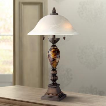 Kathy Ireland Alabaster Glass Mulholland 2-Light Table Lamp