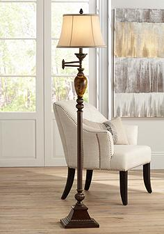 Swing arm floor lamps lamps plus kathy ireland mulholland swing arm floor lamp aloadofball Images