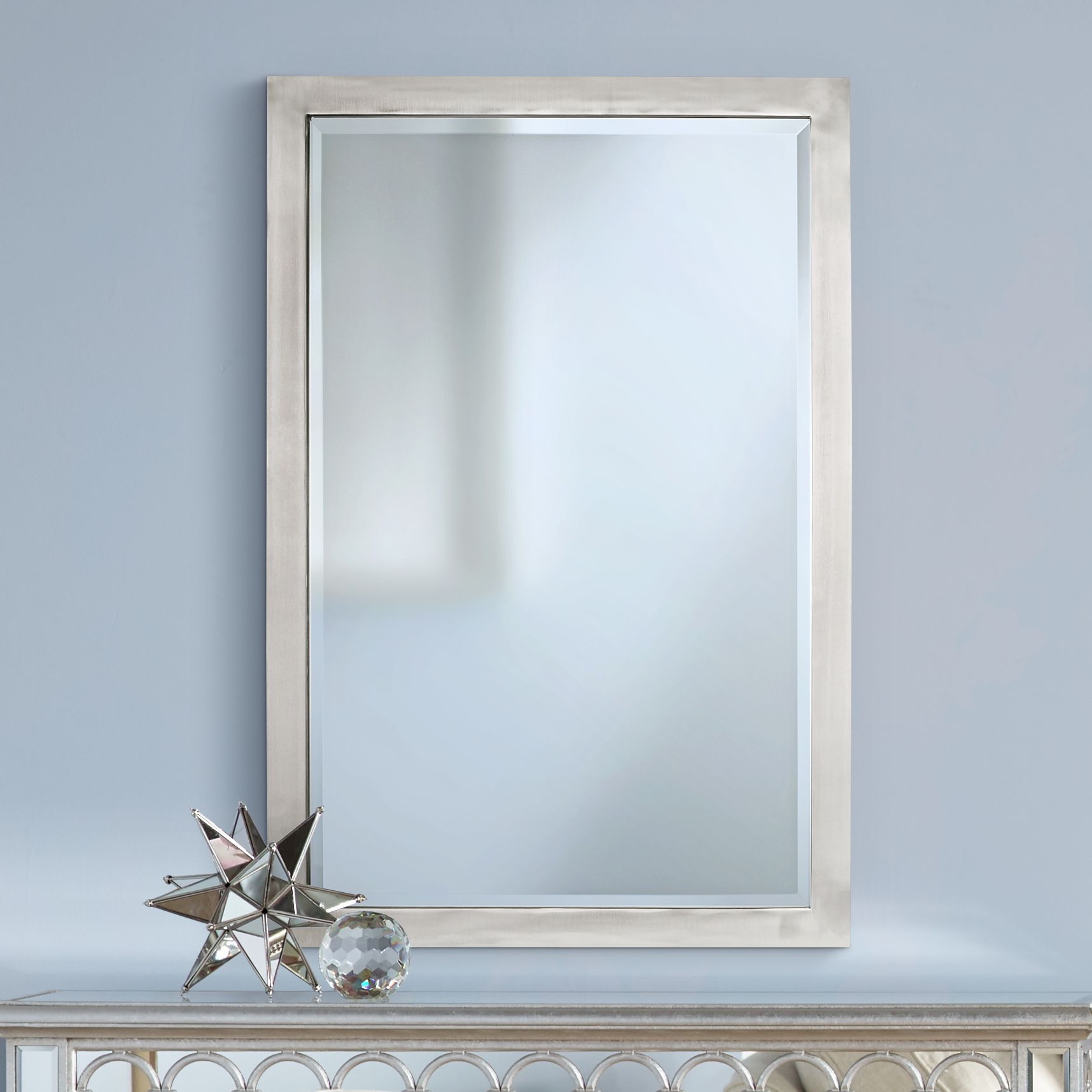 Possini Euro Metzeo Metal Rectangular Wall Mirror