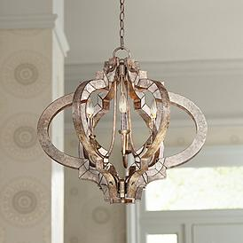 Ornament Aged Silver 23 1 4 Wide 6 Light Chandelier