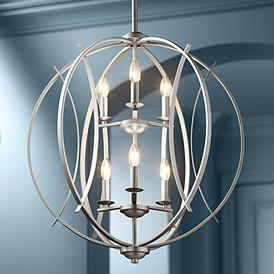 Brushed Nickel Spherical 24 Wide 6 Light Pendant Chandelier