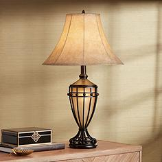 Traditional living family room table lamps lamps plus cardiff iron night light urn table lamp aloadofball Gallery