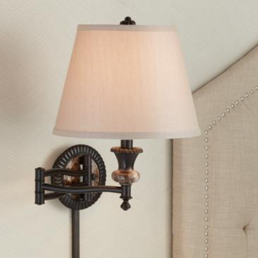 Westbridge Traditional Plug-In Swing Arm Wall Lamp in Bronze